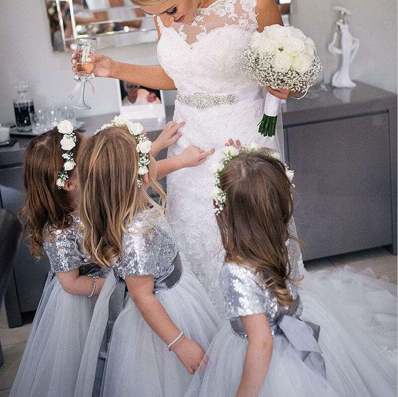 Round Neck Short Sleeves Silver Cute Cheap Flower Girl Dress with Sequins, TYP1006