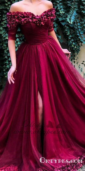 Burgundy Off the shoulder Half Sleeves A Line Tulle Long Prom Dresses, TYP1443