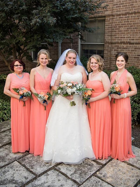 Cheap Watermelon Red Plus Size Mismatched Bridesmaid Dresses, TYP1205