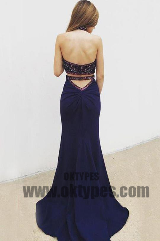 Navy Blue  Two Piece Prom Dresses, Grecian Prom Dresses With Beading, Backless Mermaid Prom Dresses, TYP0218