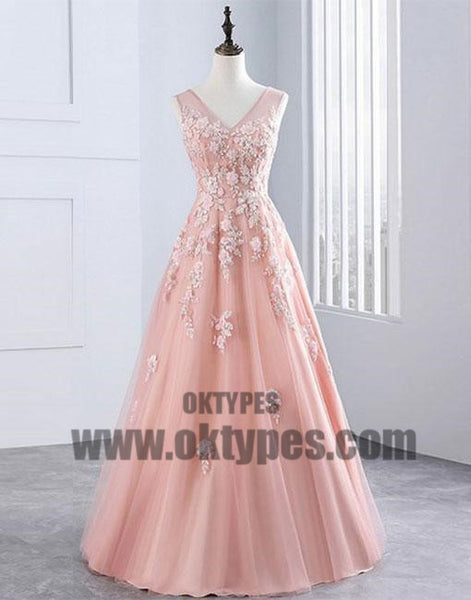 Pink Applique Long Prom Dresses V-Neck A-Line Evening Dresses, Ball Gown Prom Dresses, TYP0423