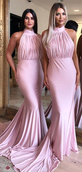 Halter Pink Long Mermaid Backless Cheap Bridesmaid Dresses, TYP1855
