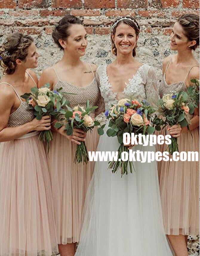Spaghetti Straps Tea Length Pink Tulle Cheap Bridesmaid Dresses Online, TYP0991