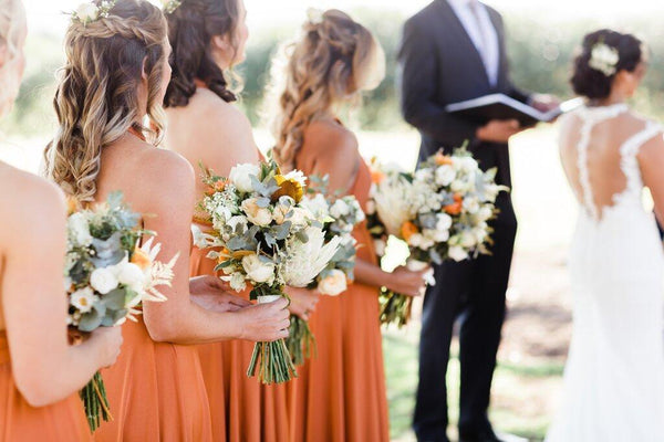 A-Line Halter Backless Long Cheap Orange Convertible Bridesmaid Dresses Online, TYP1173