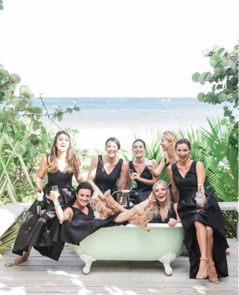 High-Low V-neck Black Satin A-line Long Cheap Bridesmaid Dresses, BDS0080