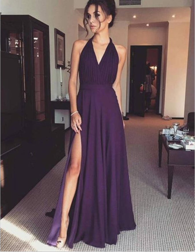 A-Line V-Neck Sleeveless Grape Chiffon Prom Dresses with Split, TYP1331