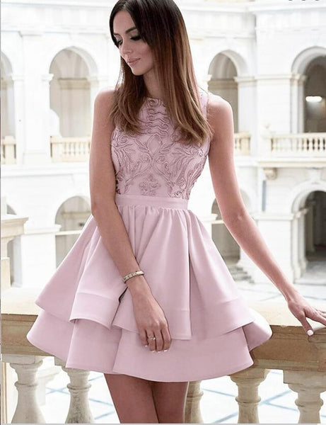 Pretty Bateau Short Blush Pink Satin Homecoming Party Dresses with Appliques, TYP1088