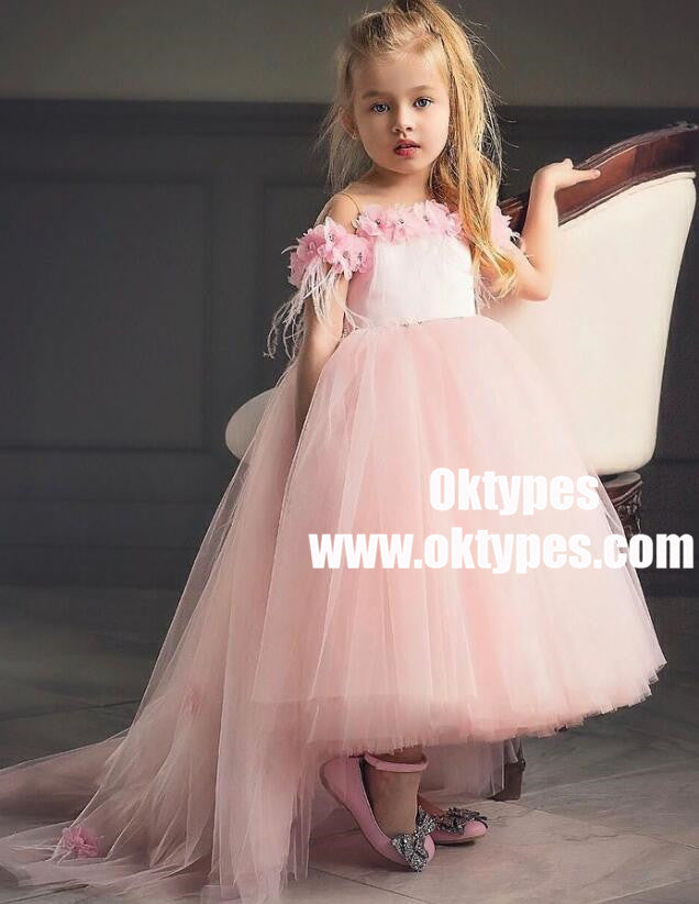 A-Line High Low Pink Flower Girl Dress with Flowers, TYP0967