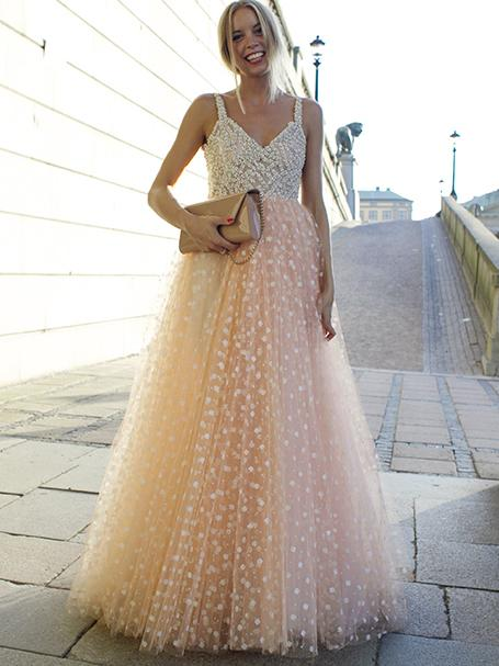Blush Pink Charming A-line Spaghetti Strap V-neck Tulle Long Prom Dresses Gown, TYP1456