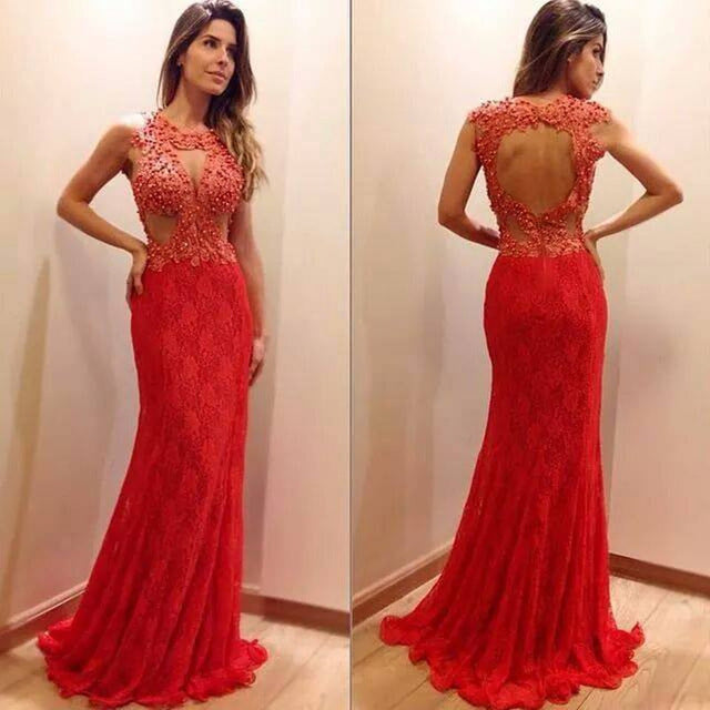 Red Long Prom Dresses, Elegant Lace Prom Dresses, Beading Prom Dresses, Open-back Prom Dresses, TYP0081