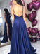 Royal Blue Spaghetti Strap A Line Side Slit Simple Long Bridesmaid Prom Dresses, TYP1441