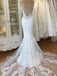 Spaghetti Strap Lace Mermaid Tulle Applique Ivory Wedding Dresses, TYP1481