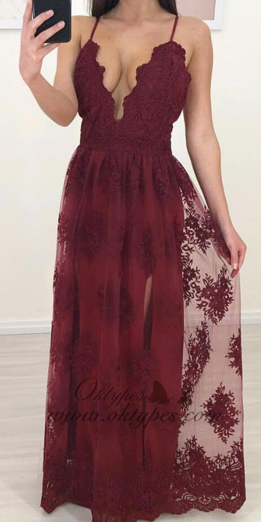 Burgundy Spaghetti Strap Tulle Lace A-line Occasion Party Prom Dresses, TYP1447
