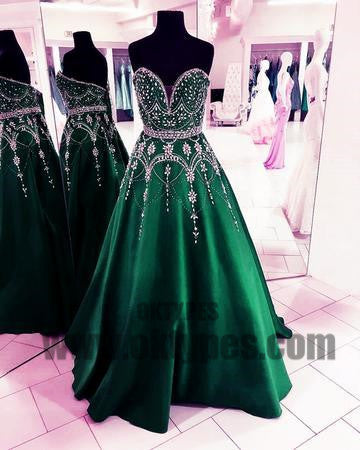 Sweetheart Long Prom Dresses Beading Evening Dresses Backless Formal Dresses, TYP0432
