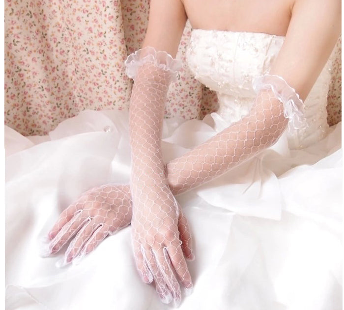 White Long Finger Simple Wedding Gloves, Women Bridal Gloves, TYP0640