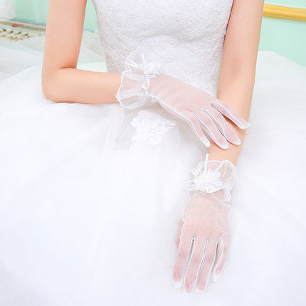White Wedding Gloves, Finger Gloves With Ruffles, Women Gloves, TYP0631