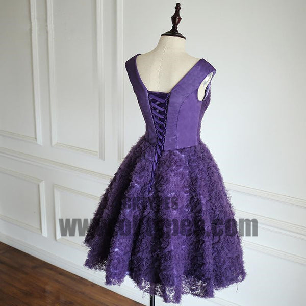 Purple V-neck Tulle Homecoming Dresses, Special Design For 2017 Homecoming, TYP0511