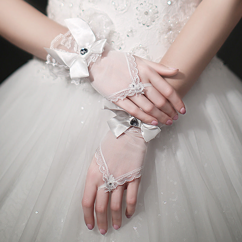 Short Bridal Gloves, White Lace Wedding Gloves, Gloves With Beaded, Lovely Gloves, TYP0565