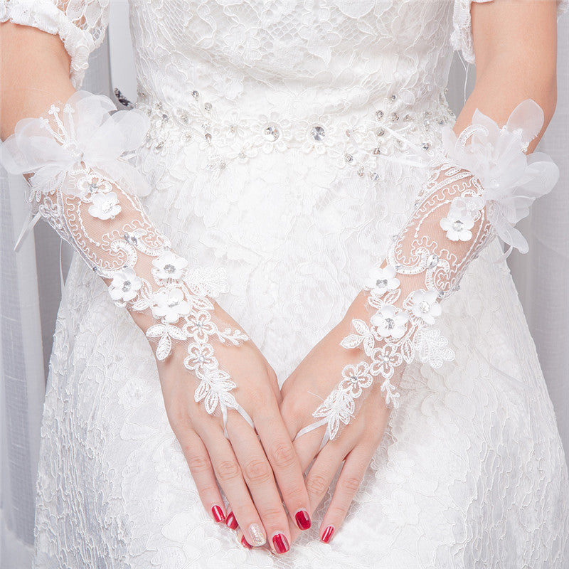 Light Ivory Beaded Wedding Gloves, Bridal Lace Gloves, Floral Appliques Is For Sale, TYP0571