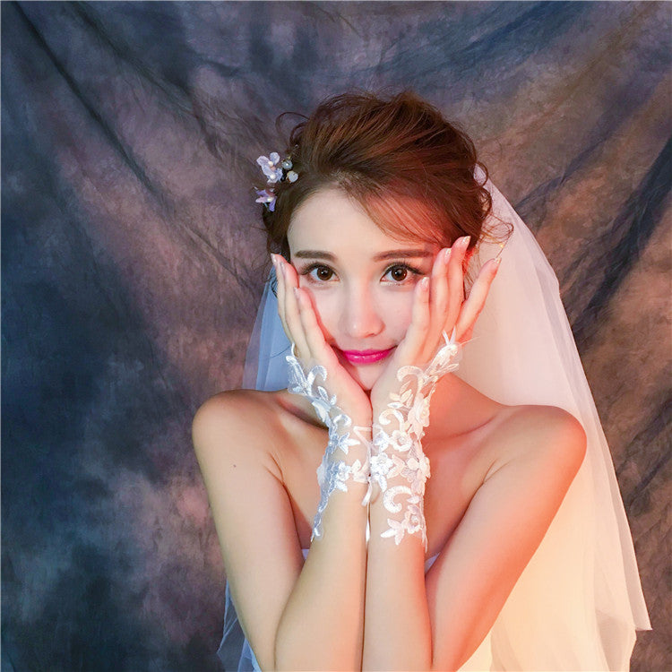Short Fingerless Handmade Flower Peals Wedding Bridal Gloves, TYP0634