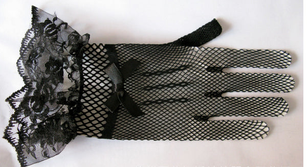 Black Wedding Gloves, Short Gloves, Lace Gloves With Bow, Lovey Gloves, TYP0562