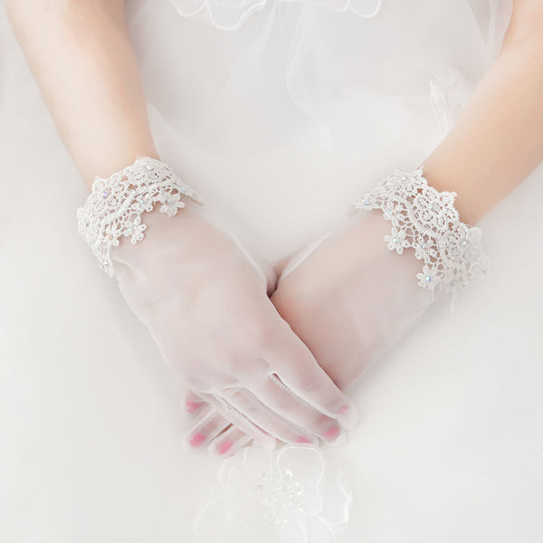 Ivory Bridal gloves, Lace Wedding gloves, Ivory lace gloves, Gloves with lace White bridal gloves, Short wedding gloves, Gloves for wedding, TYP0567