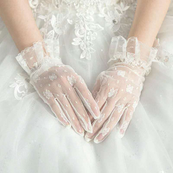 Ivory lace gloves, lace gloves, Wedding gloves, bridal gloves, short gloves, lace bridal gloves, lace mittens, bride lace gloves, Rockabilly, TYP0545