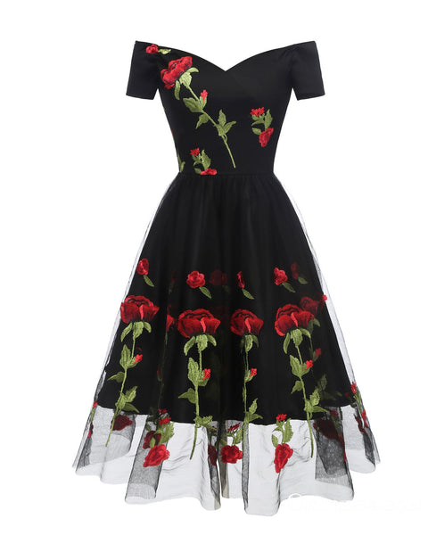 Charming Off the Shoulder Tulle Black Homecoming Dresses with Flowers, TYP2018