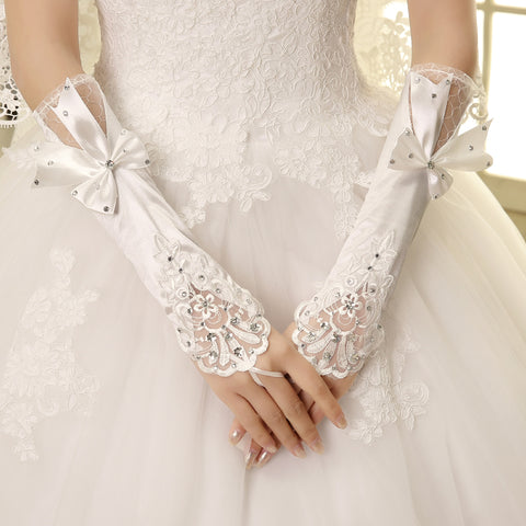 Long Satin Wedding Gloves, Beaded Gloves, White Gloves With Bow, TYP0560