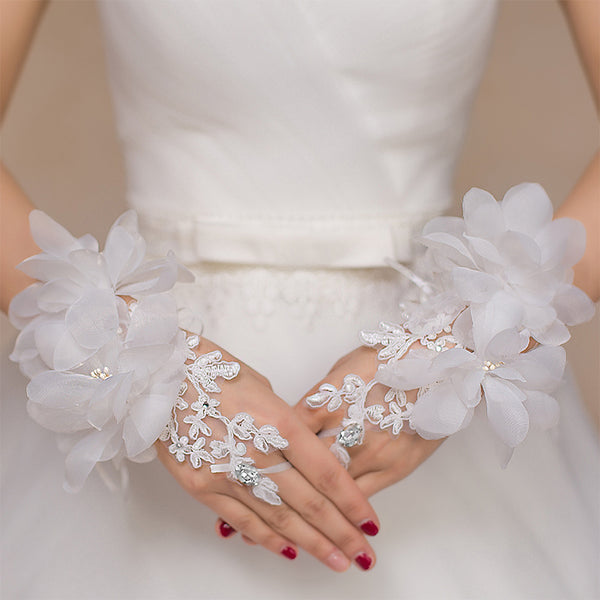 Lace Wedding Gloves, Handmade Flower Lace Gloves, Short Gloves, TYP0543