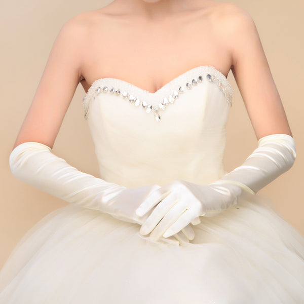 Bridal Black Gloves, Bridal Gloves, White Satin Long Full Finger Bridal Gloves, Wedding Gloves, Wedding Accessory, TYP0553