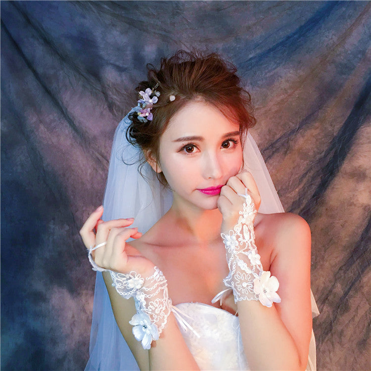 White Short Fingerless Handmade Flower Peals Lace Wedding Bridal Gloves, TYP0635
