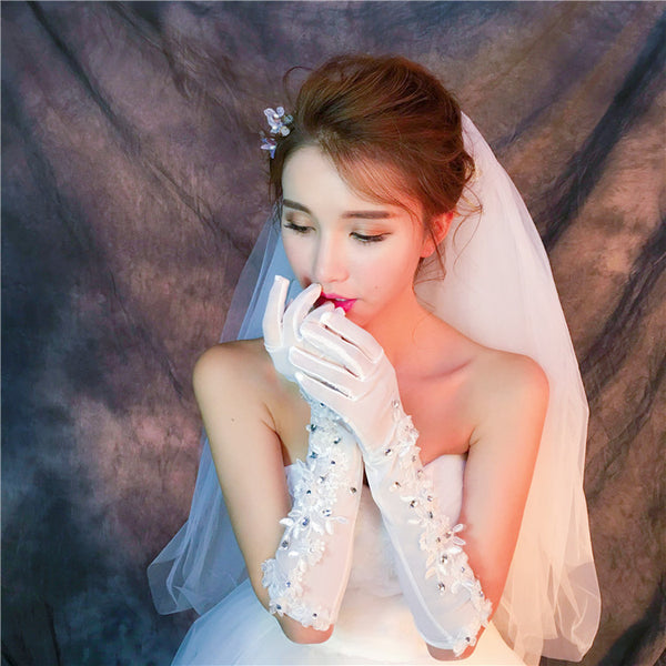 Long Finger Handmade Flower Rhinestone Wedding Bridal Gloves, TYP0636