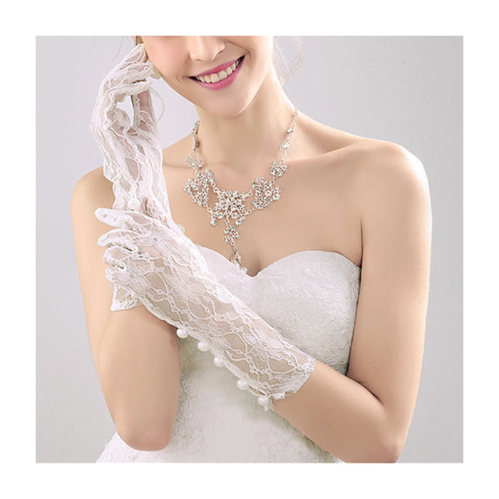 Long Bridal Gloves, White Lace Wedding Gloves, Gloves With Beaded, Lovely Gloves, TYP0564