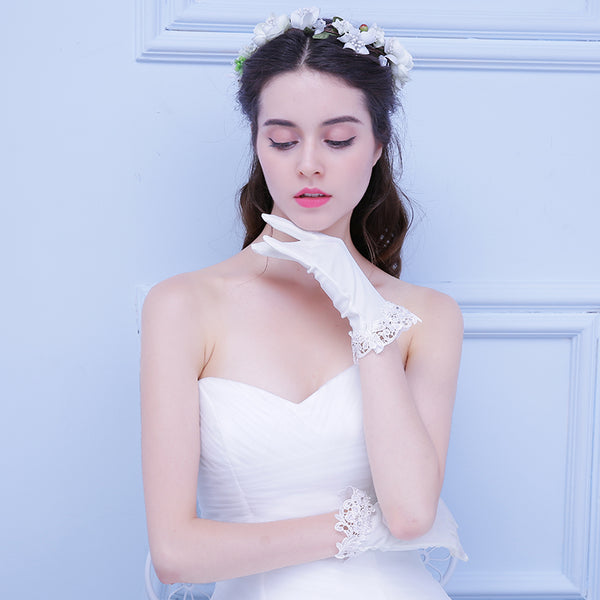 White Bridal Stain Wedding Gloves With Lace Appliques, Lovely Wedding Gloves, TYP0556