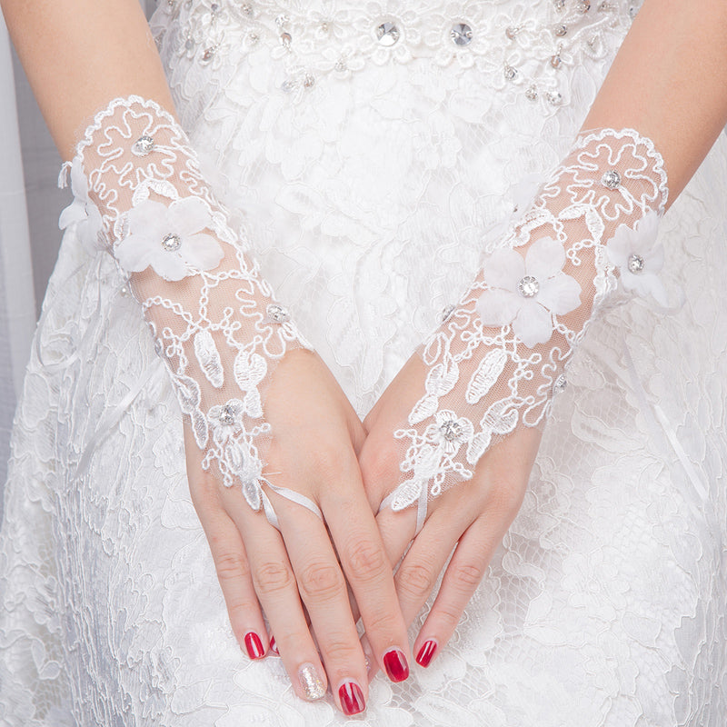 White Short Finger Rhinestone Wedding Gloves, Women Bridal Gloves, TYP0639