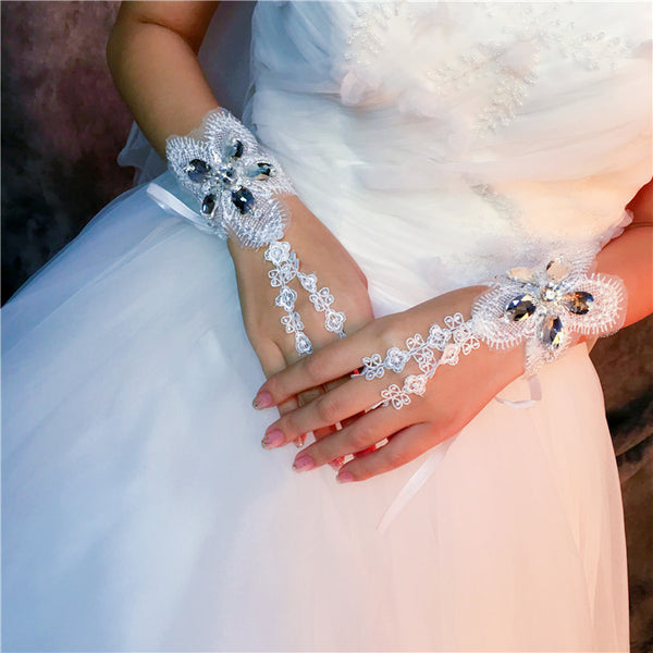 Short Fingerless Rhinestone Lace Wedding Gloves, Pretty Wedding Gloves, TYP0633