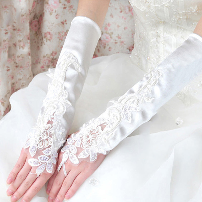 Long Satin Wedding Gloves, Lace Appliques Gloves, White Gloves, TYP0561