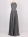 A-Line Halter Sleeveless Long Cheap Backless Grey Chiffon Prom Dresses with Beading, TYP1291