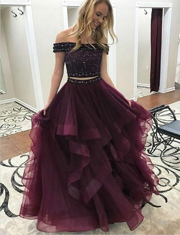 Two Piece Off-the-Shoulder Long Cheap Maroon Tulle Prom Dresses with Beaded, TYP1283