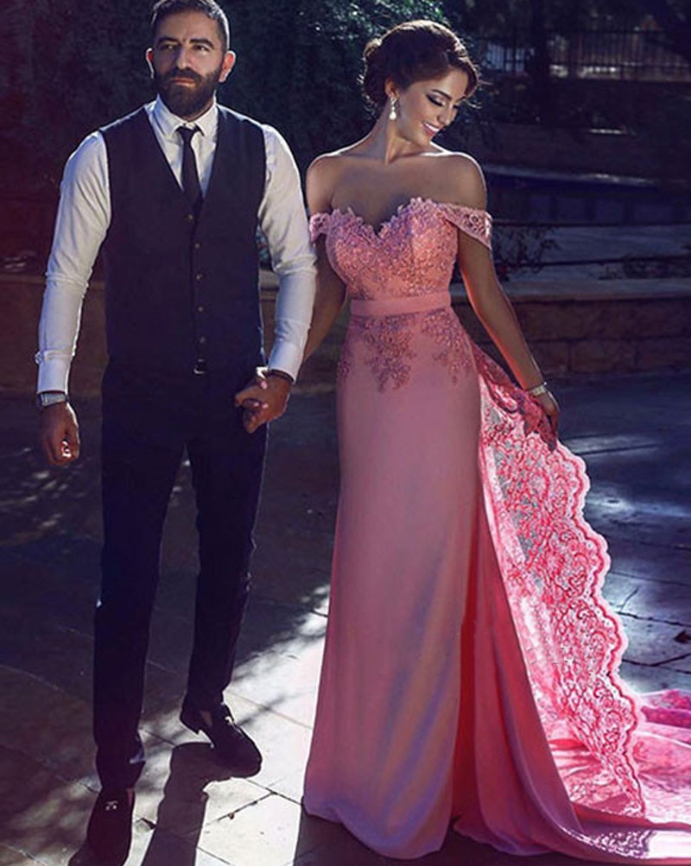 Sheath Off-the-Shoulder Long Cheap Pink Prom Dresses with Lace Sash, TYP1308
