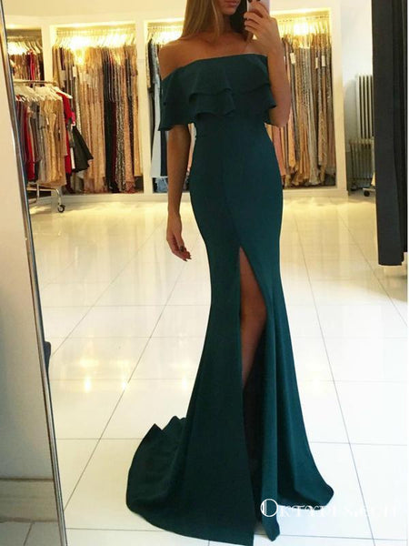 Teal Off Shoulder Long Cheap Mermaid Jersey Prom Dresses With Slit, TYP1611