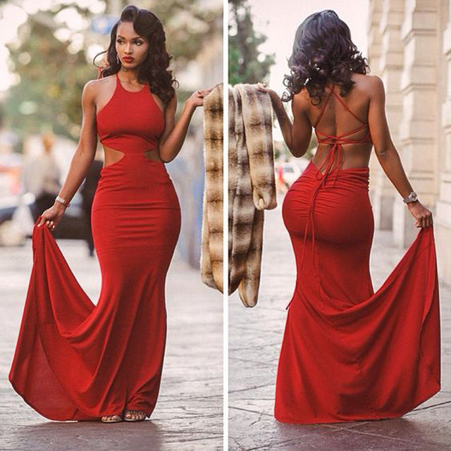 Red Long Prom Dresses, Cheap Mermaid Prom Dresses, Halter Prom Dresses, Button Prom Dresses, TYP0082