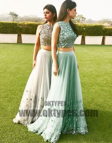 2018 Newest Prom Dresses, Two Piece Tulle Prom Dresses, Appliques Prom Dresses, Sleeveless Prom Dresses, TYP0366