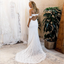 Mermaid Off-the-Shoulder Sweep Train White Lace Wedding Dresses with Split, TYP1180