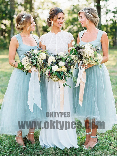 2018 Bridesmaid Dresses Square Asymmetrical Cheap Simple Popular Bridesmaid Dresses, TYP0409