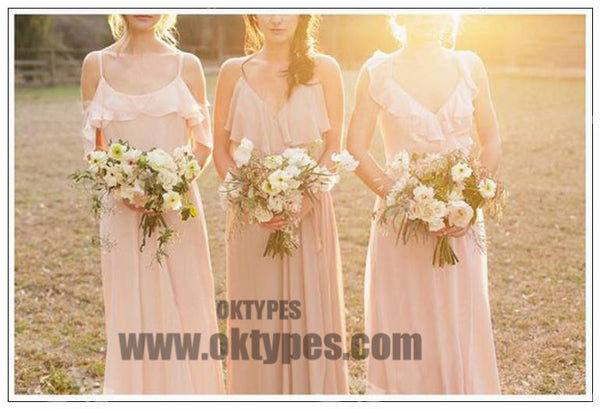 2018 Bridesmaid Dresses A-line Simple Long Pink Cheap Bridesmaid Dresses, TYP0378