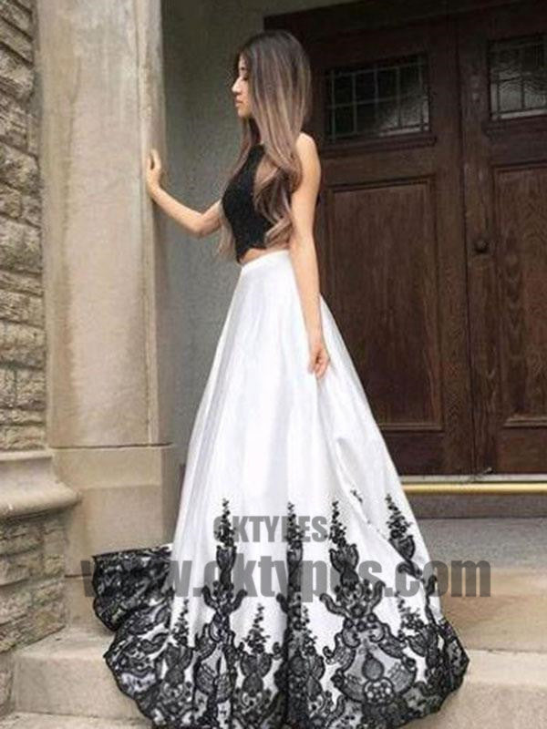 2021 Two Piece Lace Prom Dress White Cheap Long Prom Dress, Charming Prom Dresses, TYP0372
