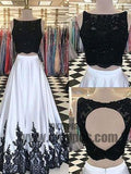 2018 Two Piece Lace Prom Dress White Cheap Long Prom Dress, Charming Prom Dresses, TYP0372