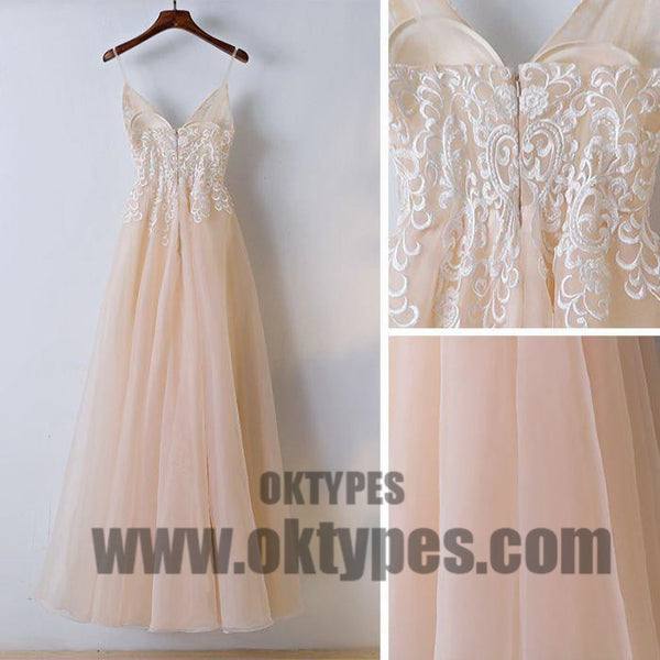 2018 A Line Lace Prom Dress Cheap Long Prom Dress, Sexy Spaghetti Strap Prom Dresses, TYP0397